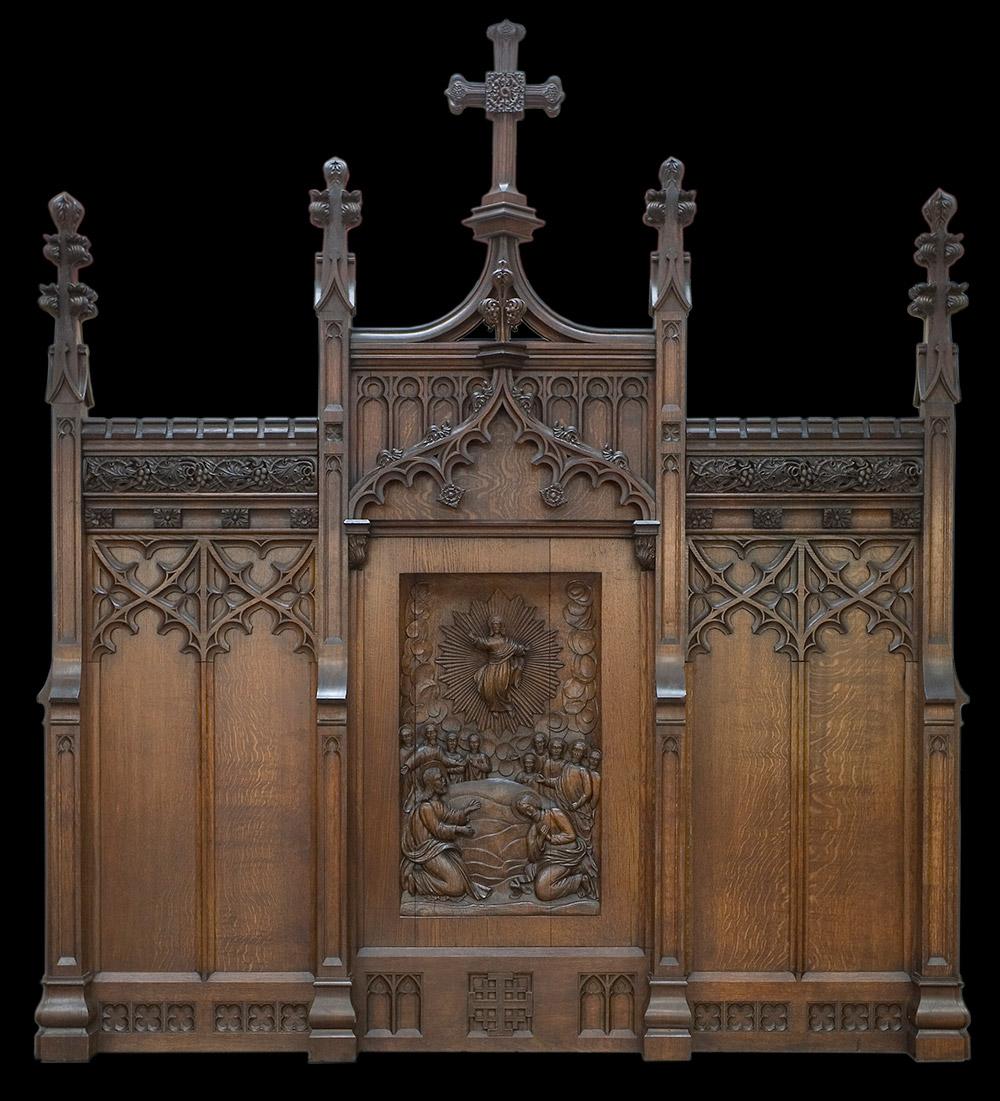 Victorian Oak Gothic Altar