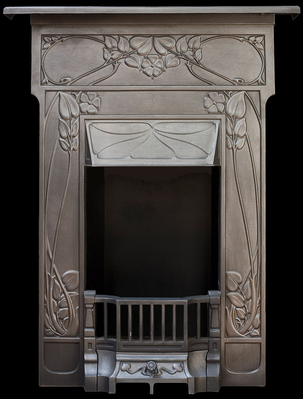 art nouveau bedroom cast iron fireplace