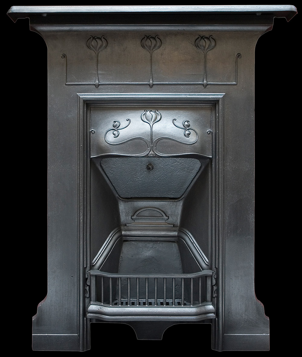 antique edwardian cast iron bedroom fireplace