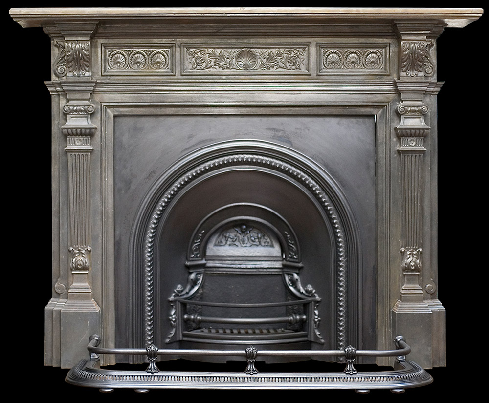 Victorian ornate cast iron fire surround