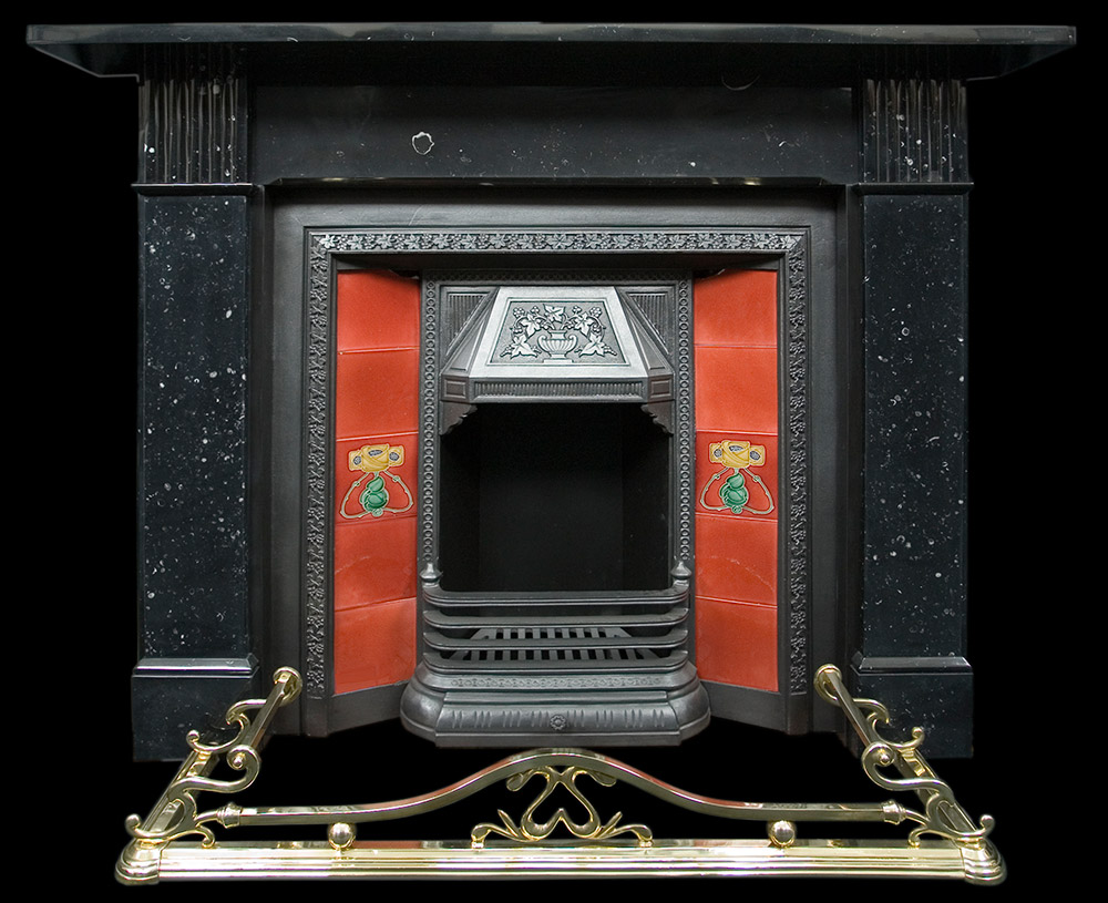 Victorian black marble fire surround