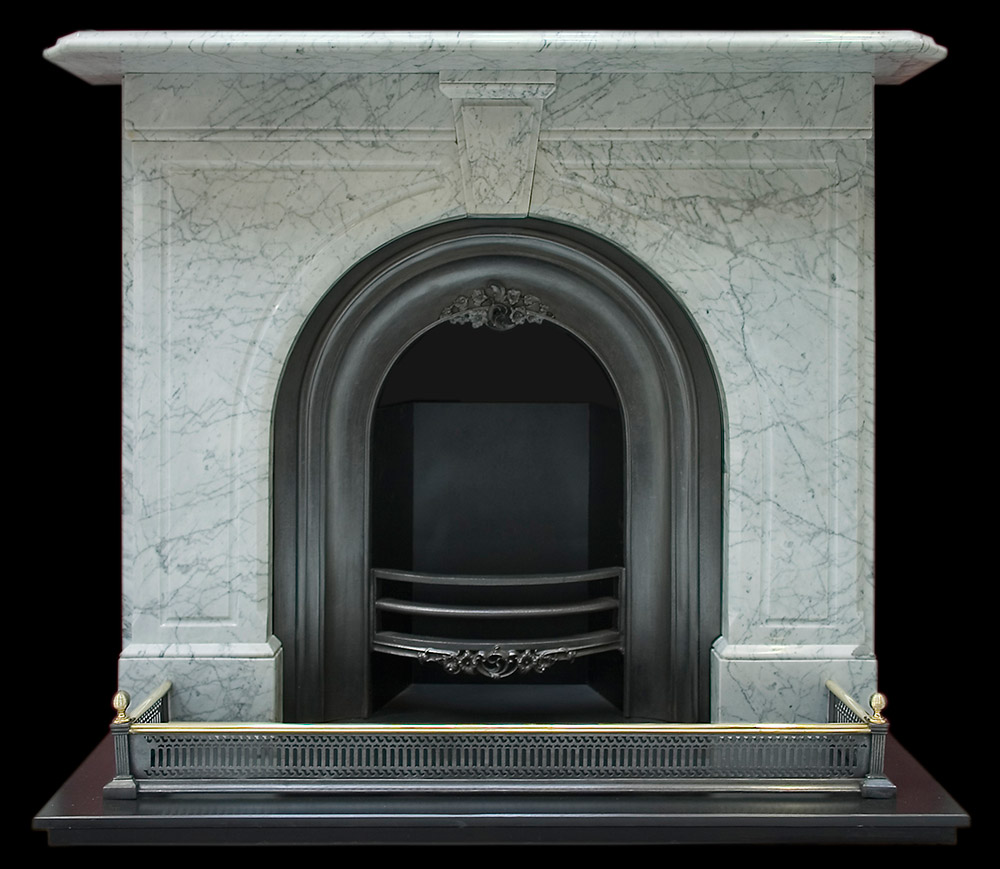 victorian arched white carrara marble fire surround