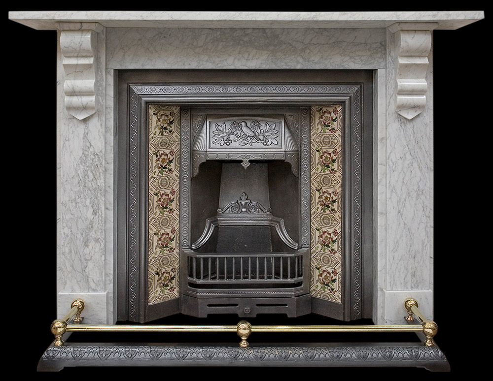 Victorian white marble fire surround