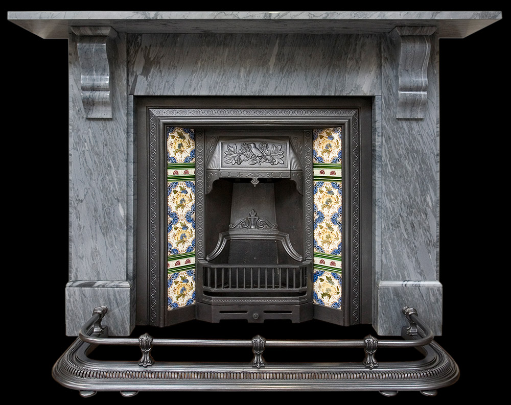 Victorian Irish grey marble fire surround