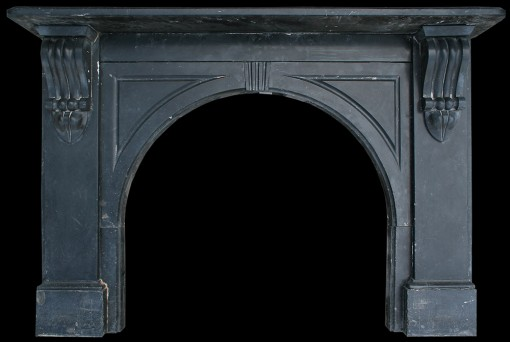 Antique black marble fire surround