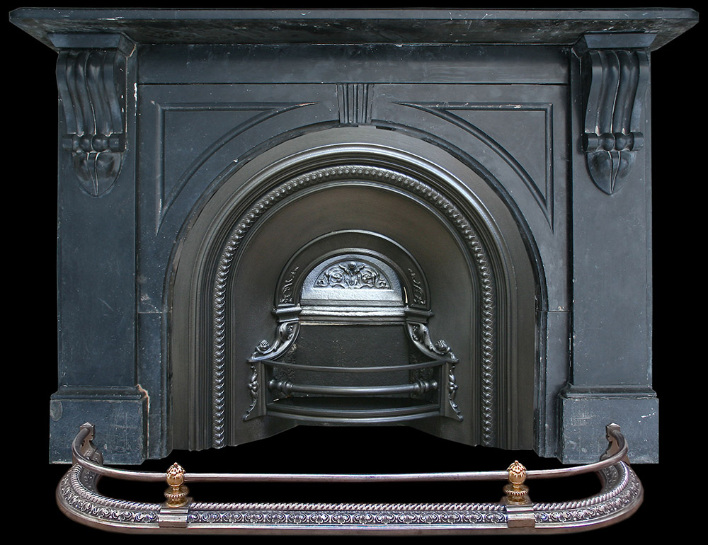 Antique black marble fire surround