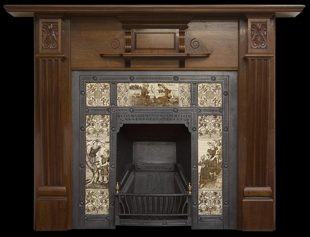 Victorian walnut fire surround