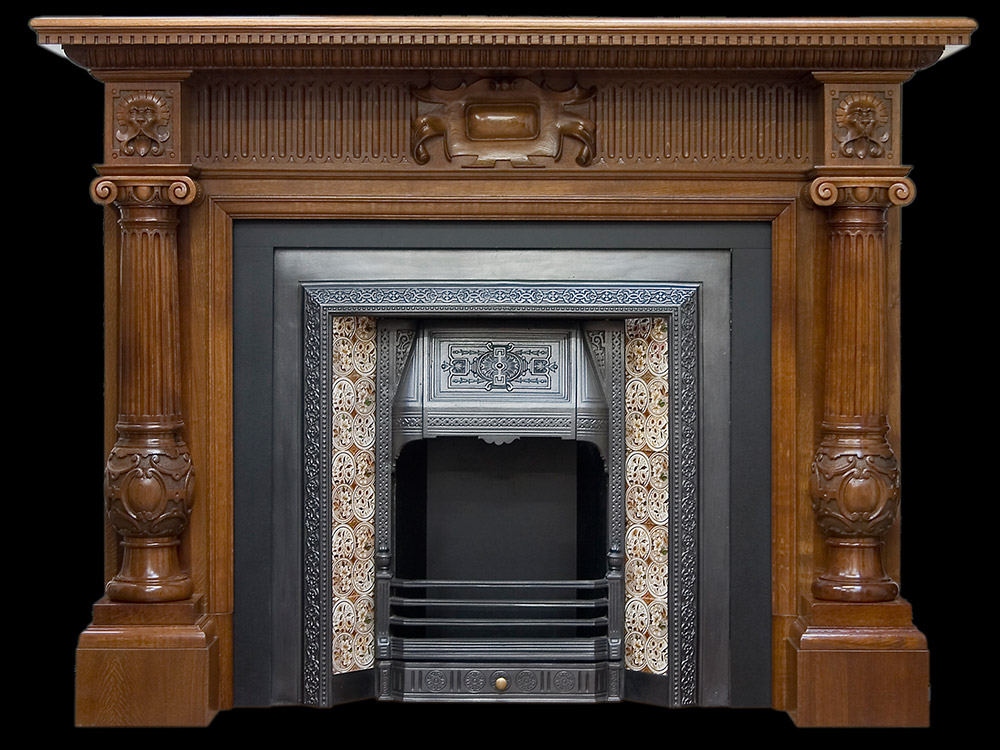 Victorian carved pillared oak fire surround Victorian fireplace restoration
