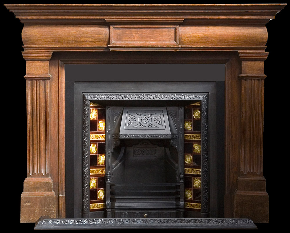 Large victorian oak fire surround Victorian fireplace restoration