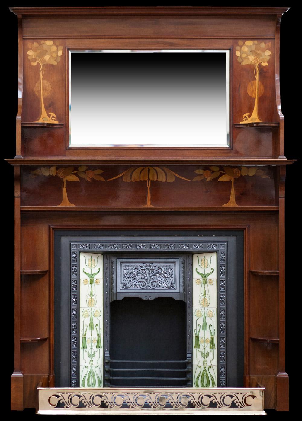 Arts and Crafts mahogany fireplace