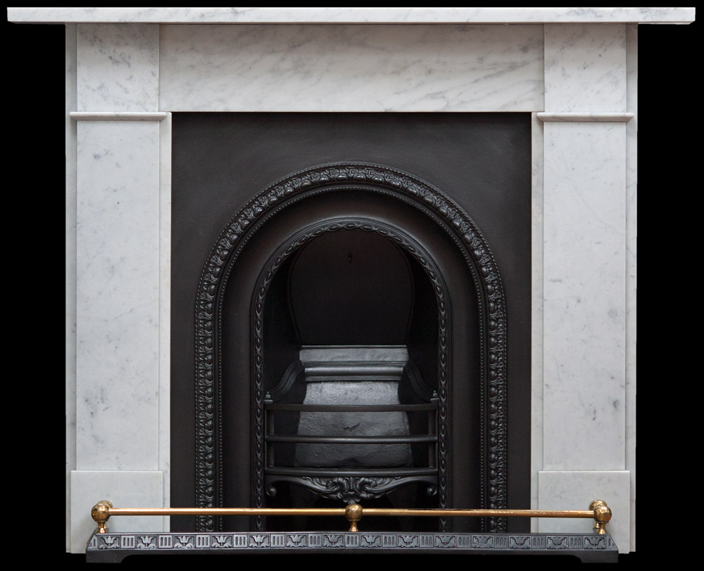 Late Victorian carrara marble fire surround and reclaimed wooden fires of the Georgian
